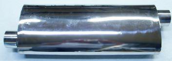 Bild lång oval rostfri ljuddämpare med genomgående S-format rör i 2,5 tum