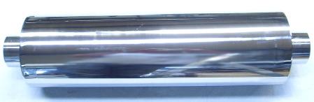 Bild lång rund rostfri ljuddämpare 2,5-tum
