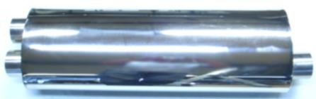 Bild oval rostfri ljuddämpare i 2,5-tum med dubbla rör ut och 1 sida in