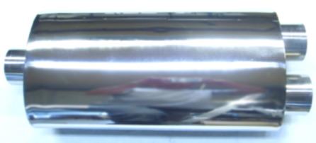 Bild oval rostfri ljuddämpare i 2,5-tum med dubbla rör ut