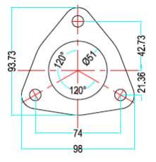 Bild 3-håls prisvärd förkromad avgas-fläns