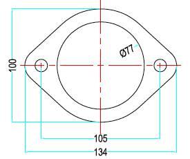 Bild ritning förkromad 2-håls avgasfläns 3-tum