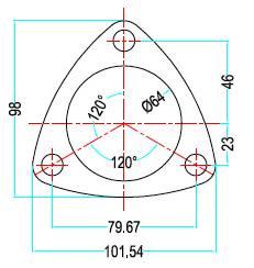 Bild ritning förkromad 3-håls avgasfläns i 2,5 tum