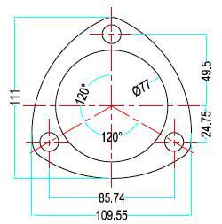 Bild ritning 3-håls förkromad avgasfläns 3-tum