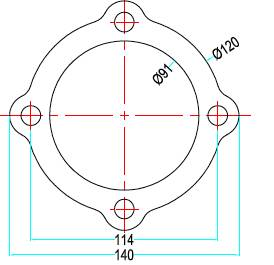 Bild ritning 4-håls förkromad avgasfläns med öron