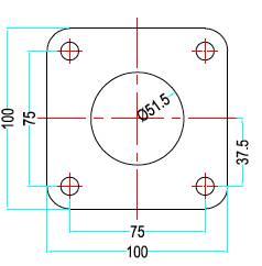 Bild ritning 4-håls förkromad avgasfläns 54mm