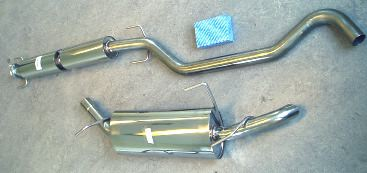 Foto stainless steel exhaust SAAB 9-5 turbo with hidden tail-pipe